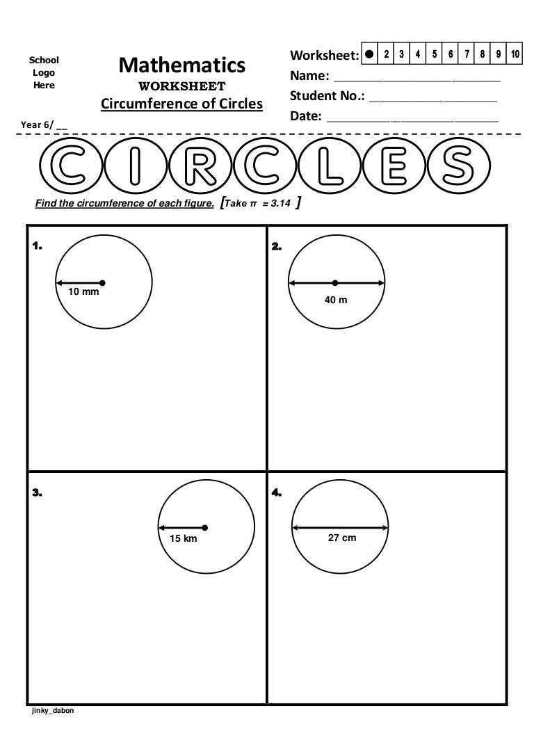 Year 6 Circumference of Circles Worksheet – Area and Circumference of a Circle Worksheet