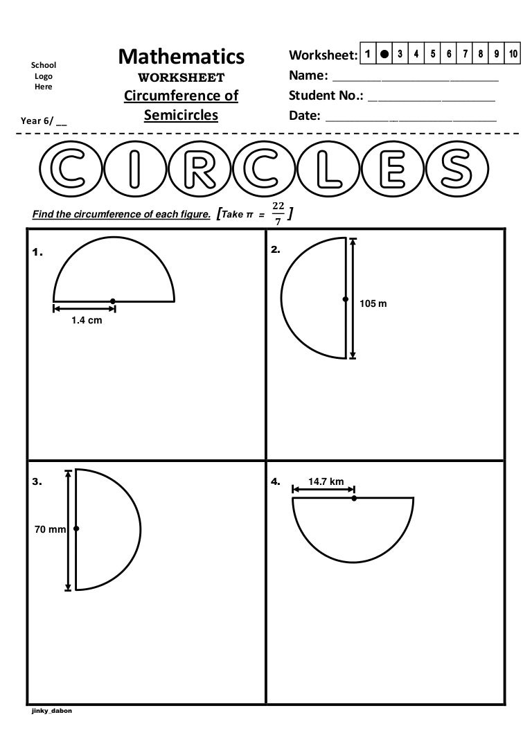 Worksheets Area And Circumference Of A Circle Worksheet year 6 circumference of semicircles worksheet