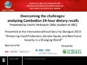 Nutrition and Health: Overcoming the challenges: analyzing Cambodian 24-hour dietary recalls