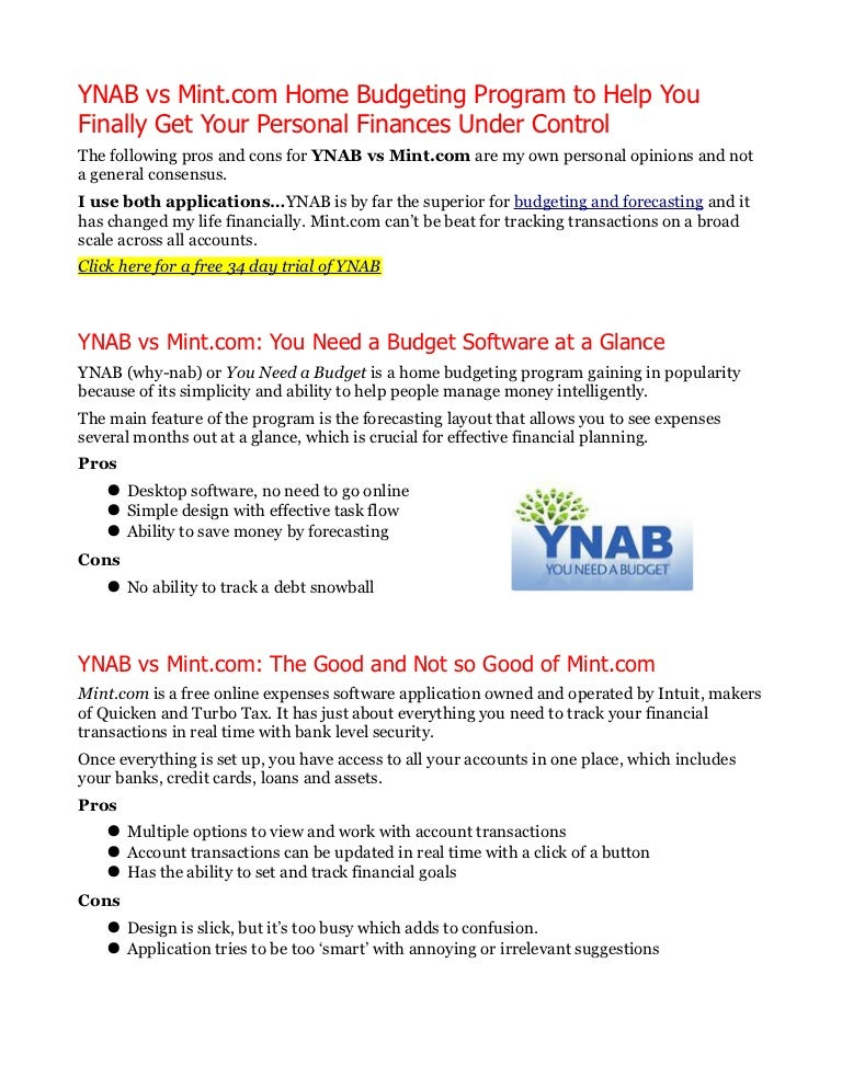 ynab vs mintcom personal budgeting software which is better