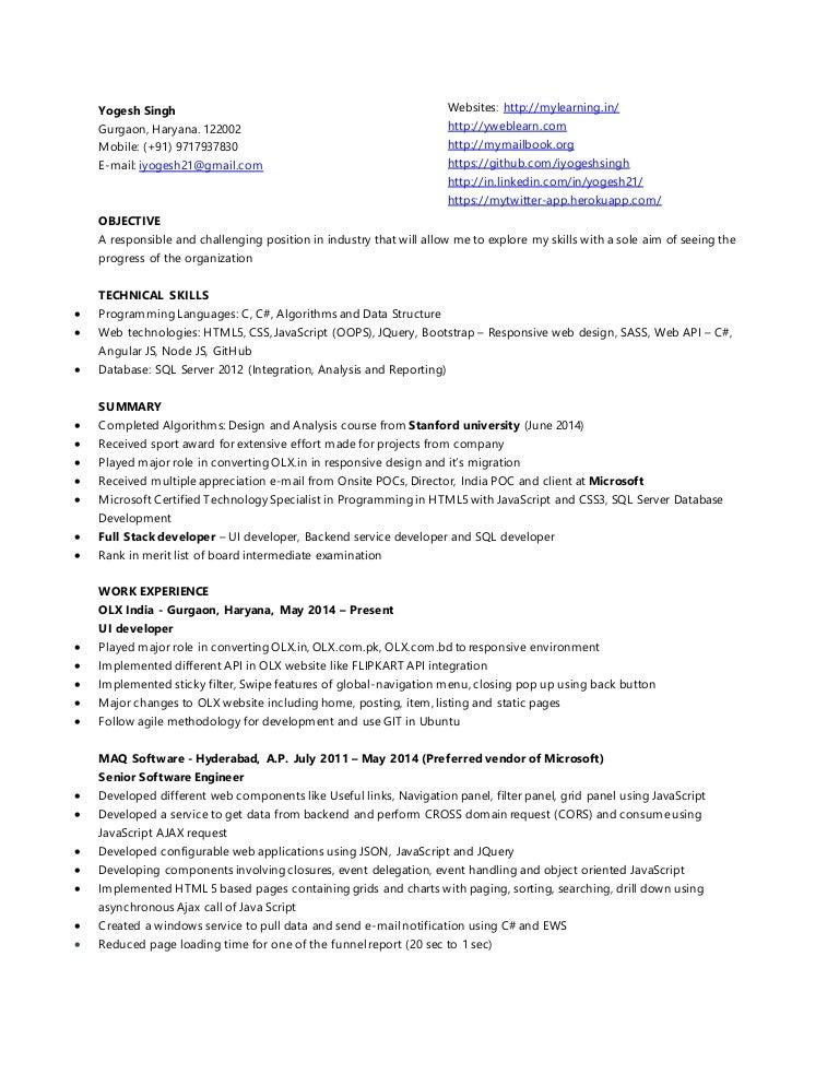 yogesh singh resume