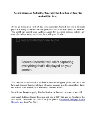 Android Screen Recorder No Root- Best Free Screen Recording App For Android
