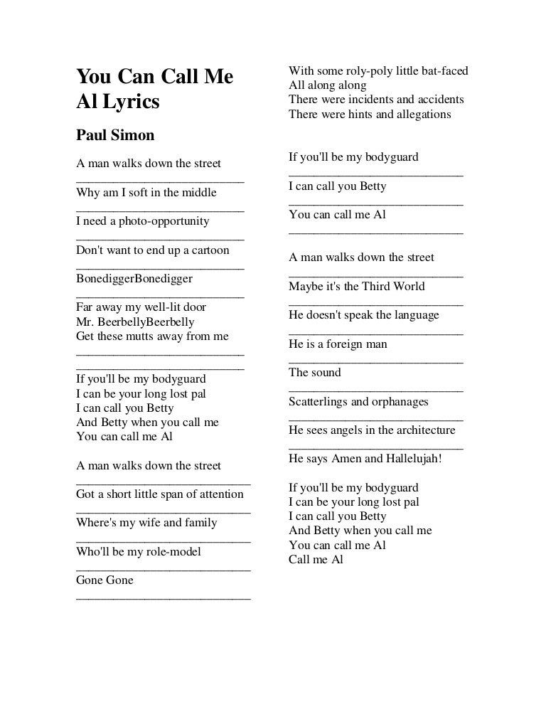 You can call me al lyrics