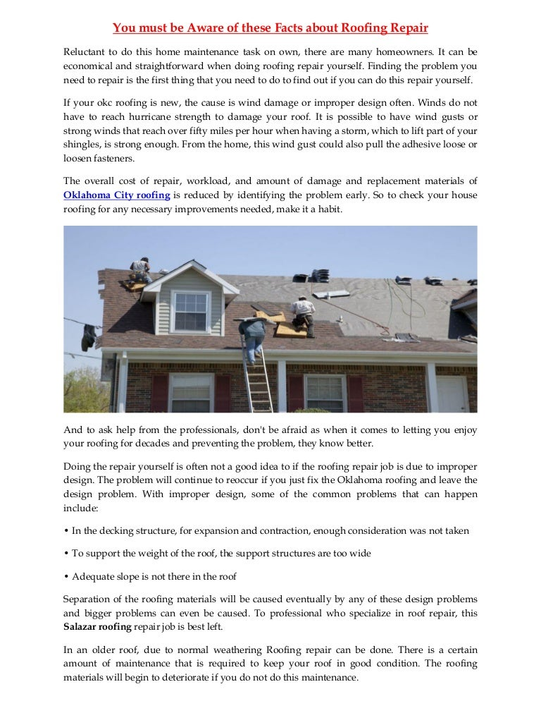 You Must Be Aware Of These Facts About Roofing Repair