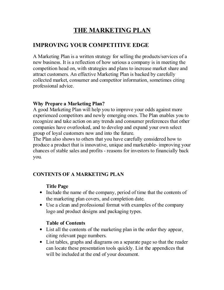 Your marketing plan