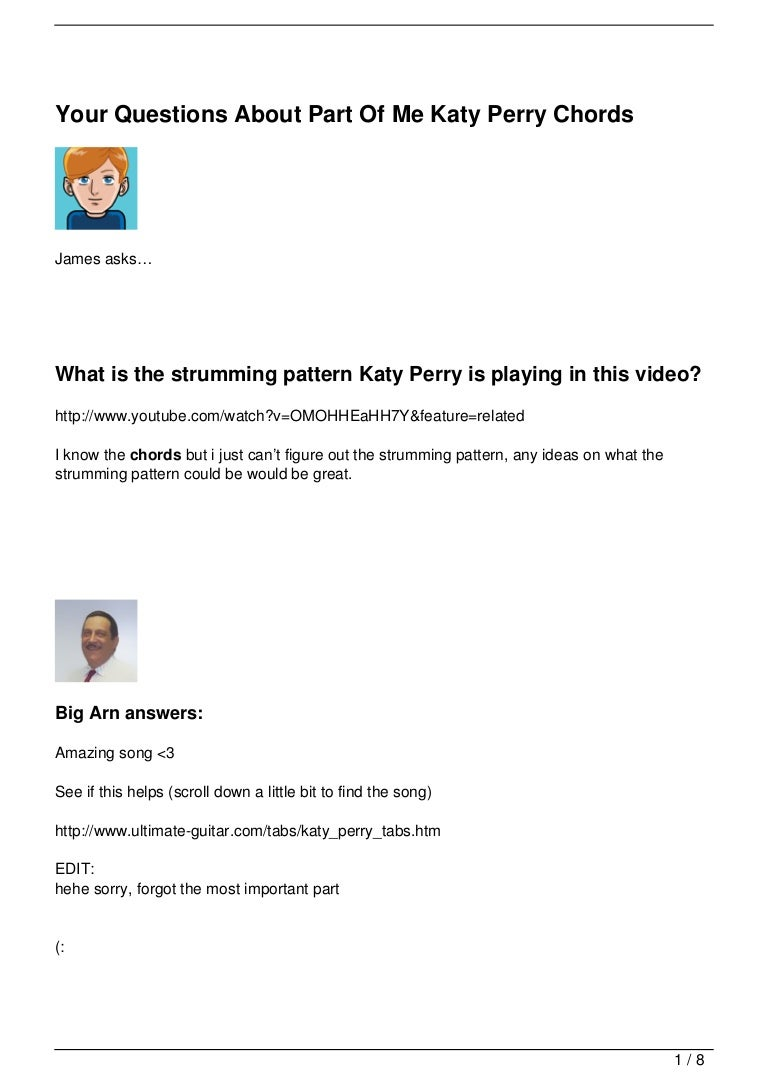 Your Questions About Part Of Me Katy Perry Chords