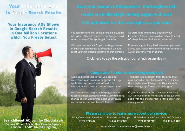 Your Insurance Ads To Google Search Results In 1 Million Locations W