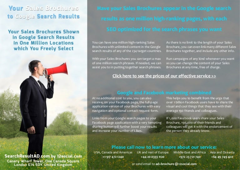 Your Sales Brochures to Google search results in 1 million locations …