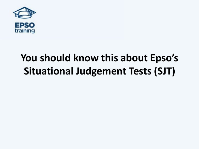You should know this about epso situational judgement tests