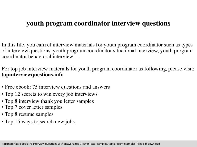 Youth program coordinator interview questions