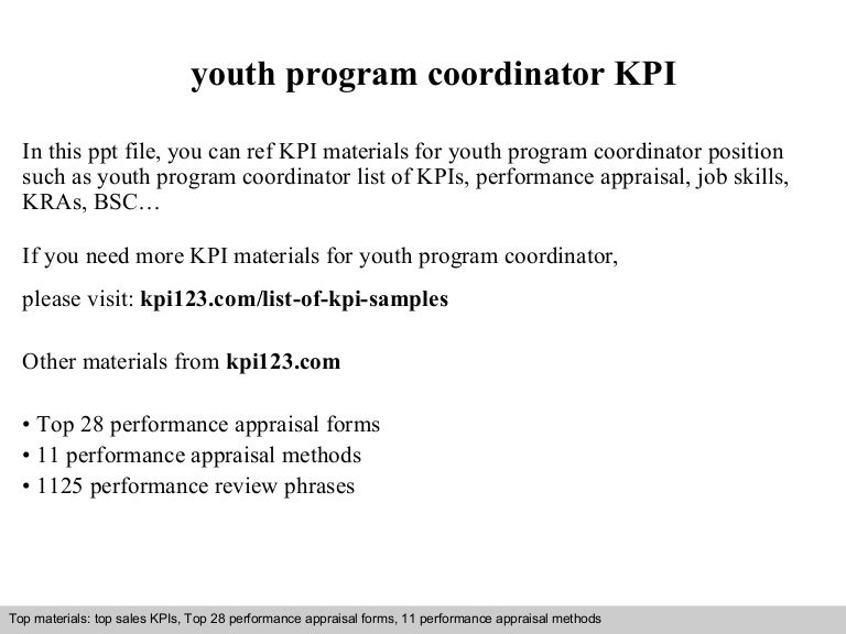 Youth Program Coordinator Kpi
