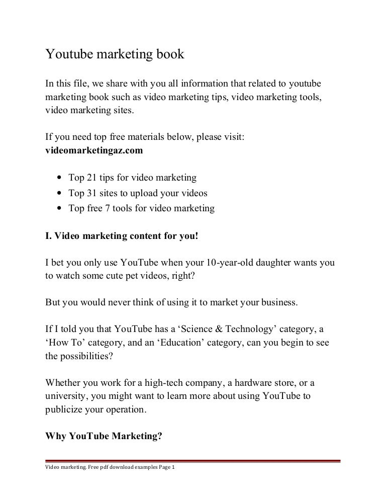 Youtube marketing book