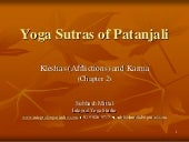 Klesha and Karma in Yoga Sutras of Patanjali