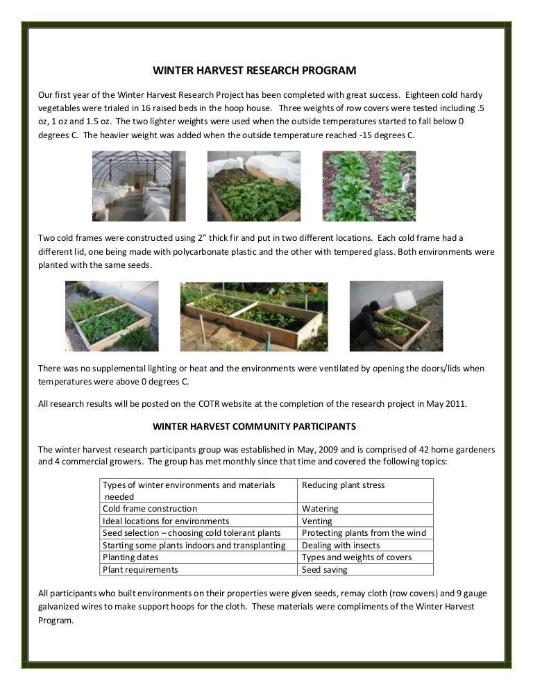 Winter Harvest Research Program in British Columbia, Canada, Gardenin…