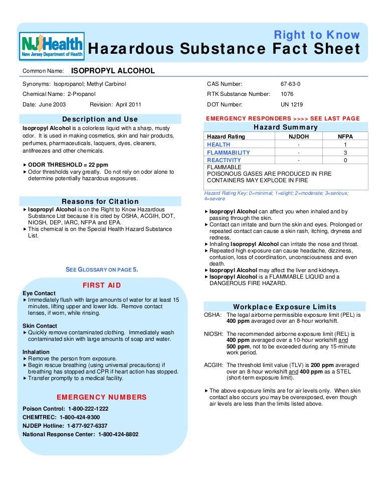 Isopropyl Alcohol Hazardous Substance Fact Sheet