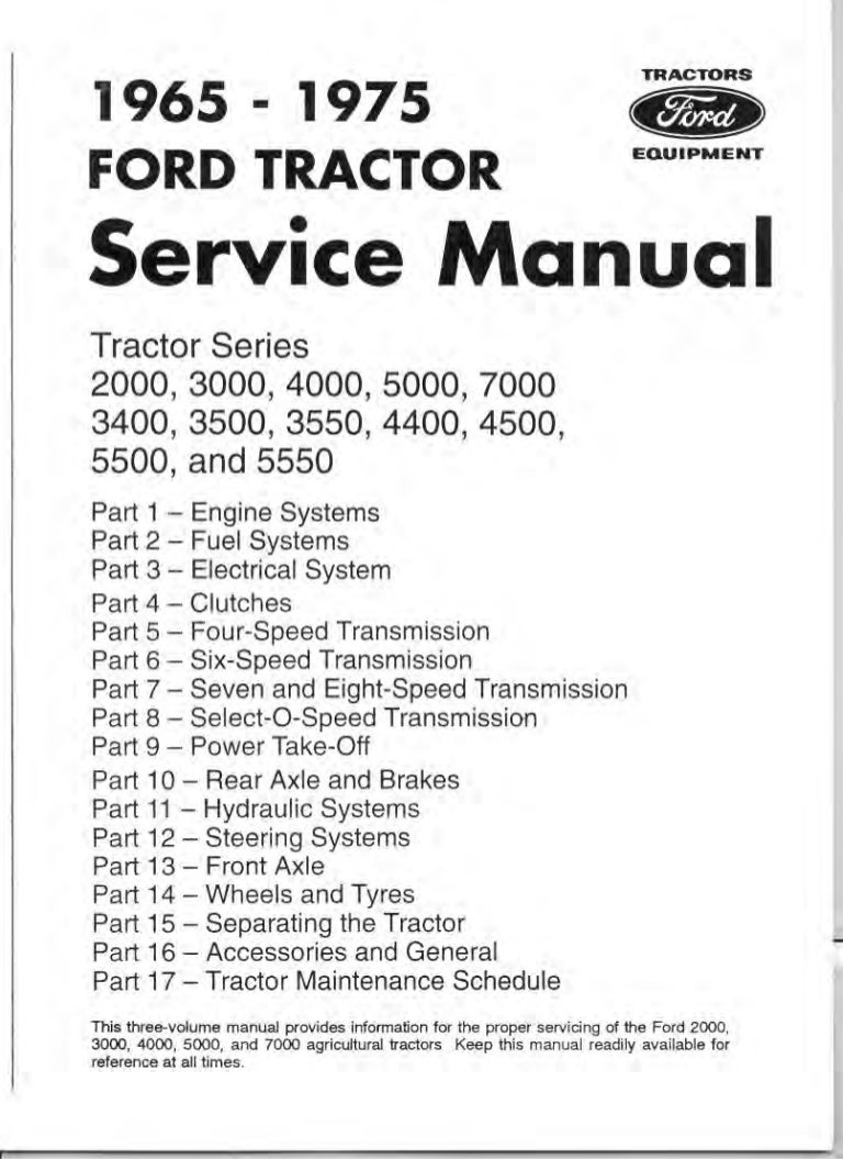 Well-Educated Ford Tractors Workshop Manual 10 Series Ford