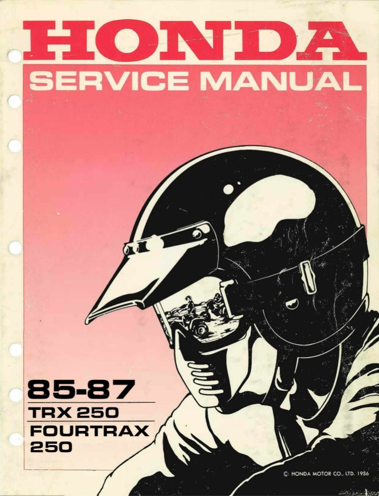 1985 Honda Trx250 Fourtrax Service Repair Manual