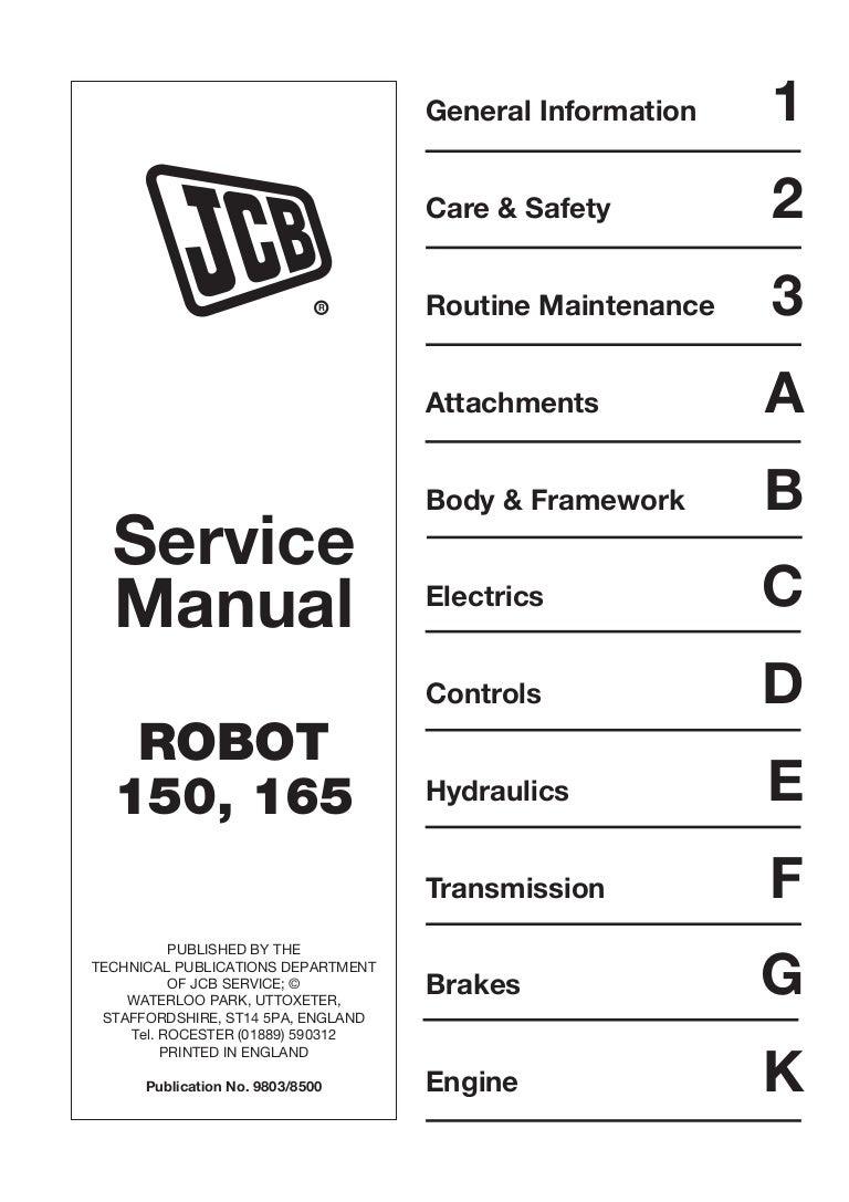 Jcb 165  165hf Robot Service Repair Manual Sn678000 Onwards