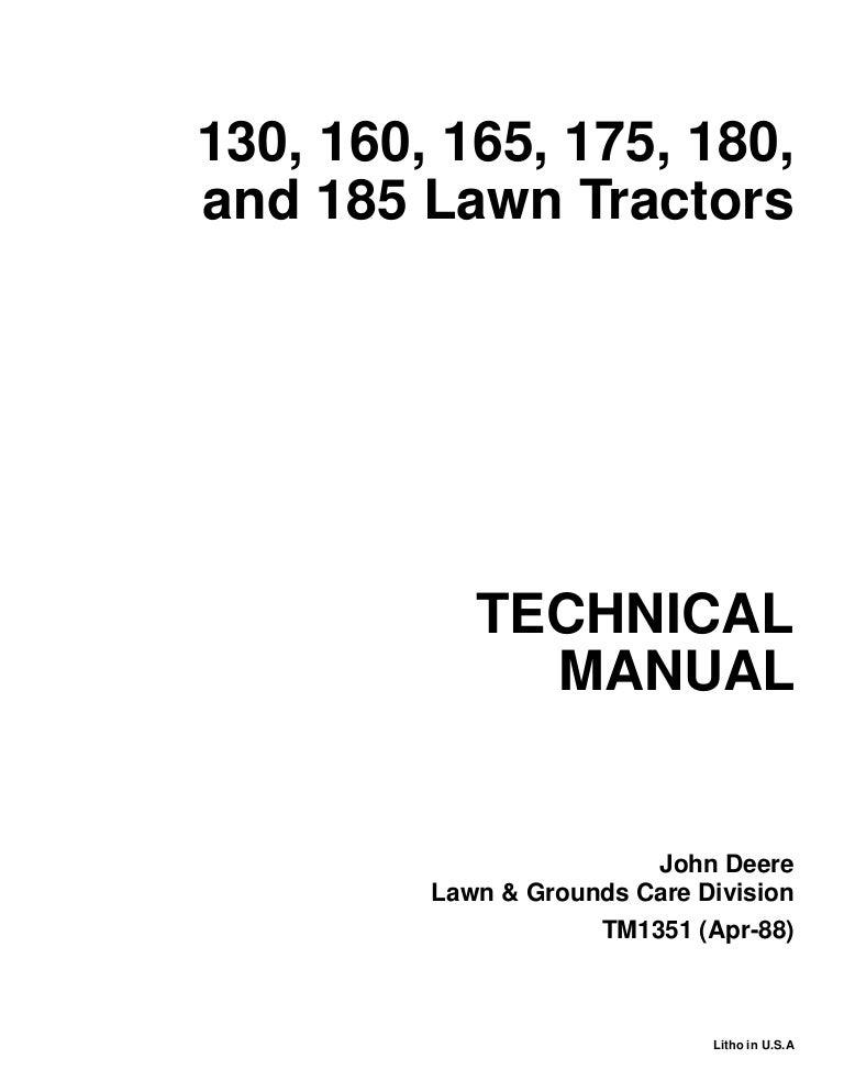 JOHN DEERE 185 LAWN GARDEN TRACTOR Service Repair Manual