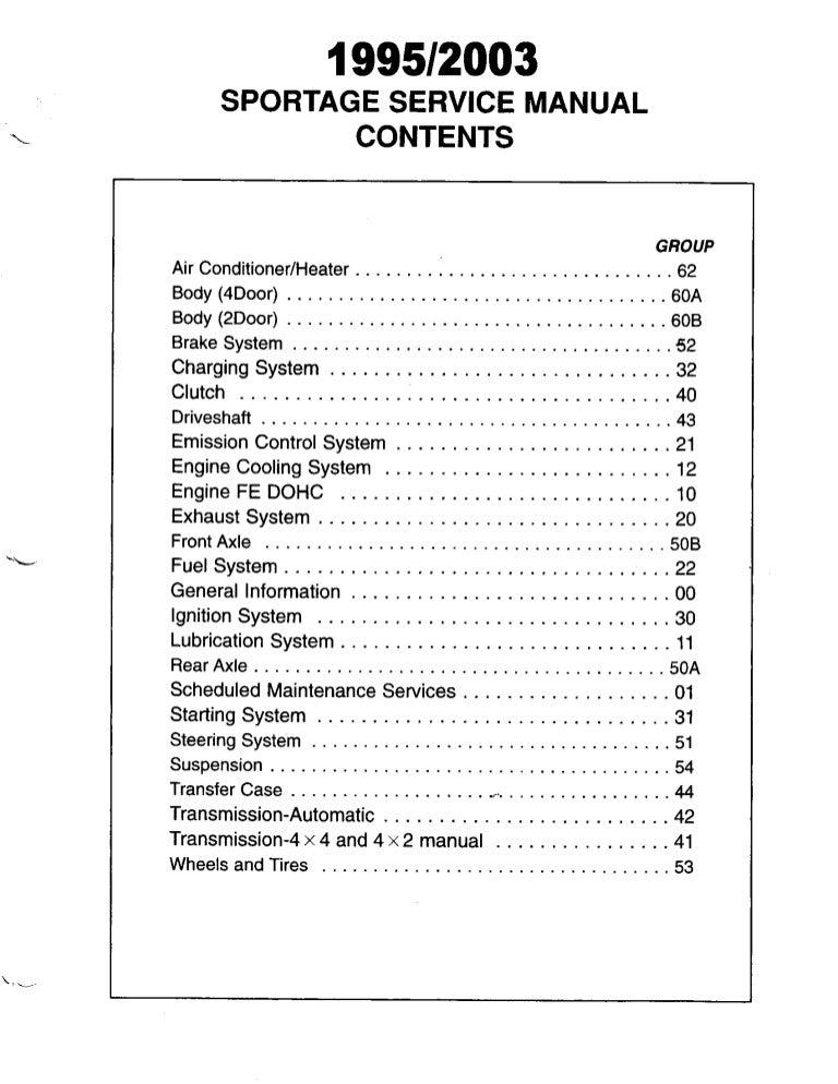 1999 Kia Sportage Service Repair Manual | 99 Kia Sportage Engine Diagram |  | SlideShare