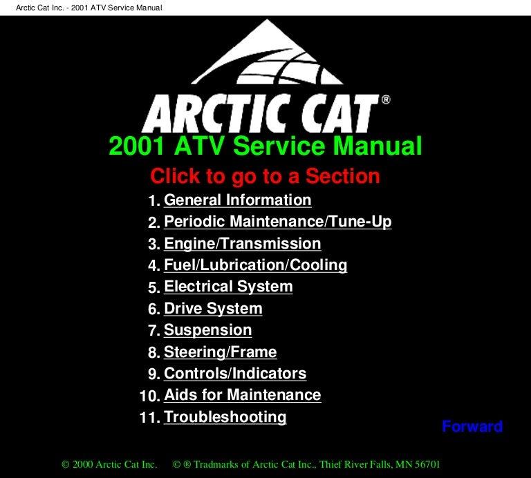 [SCHEMATICS_4CA]  2001 Arctic Cat 500 4x4 Automatic ATV Service Repair Manual | Arctic Cat 2002 90 Cc Wiring Diagram |  | SlideShare