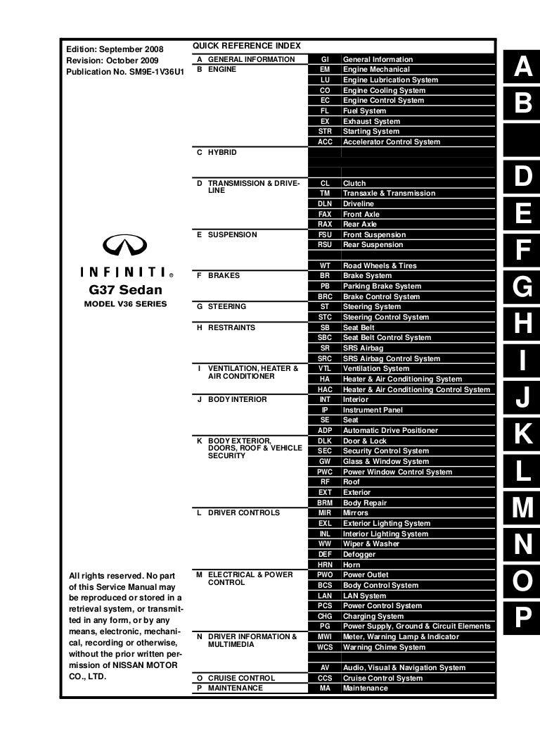 G37 Engine Diagram Wiring Library Infiniti 2009 Sedan Service Repair Manual
