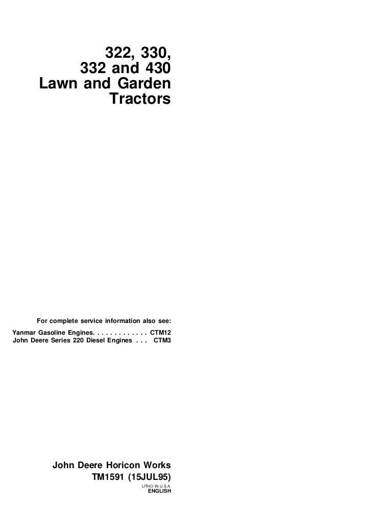 JOHN DEERE 332 LAWN GARDEN TRACTOR Service Repair ManualSlideShare