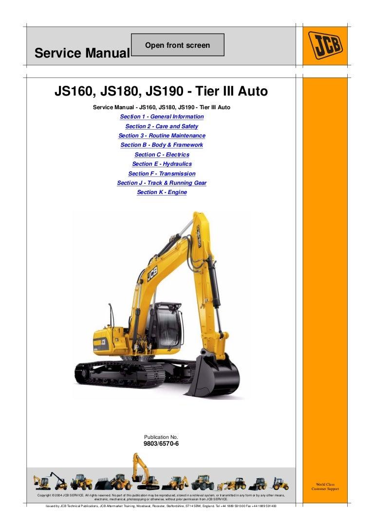 Jcb Js180 Auto Tier3 Tracked Excavator Service Repair Manual Sn16125 Backhoe Wiring Diagram Vw Beetle Starter 1020