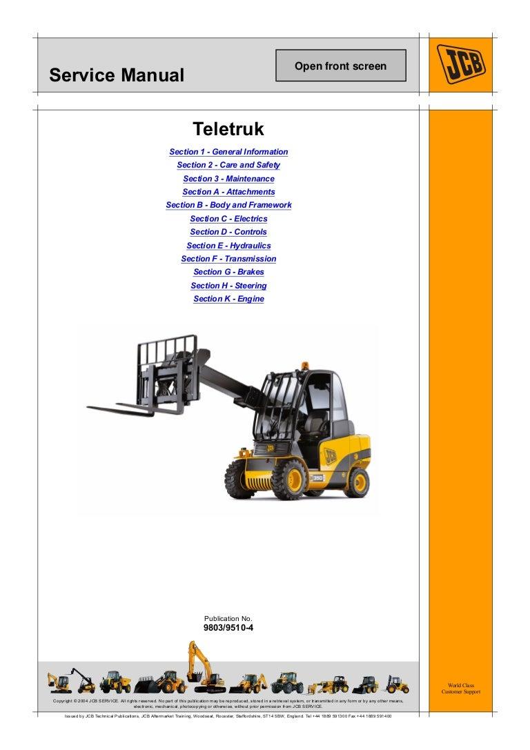Jcb 2 5g  3 0g Teletruk Service Repair Manual Sn Uff1a1175813