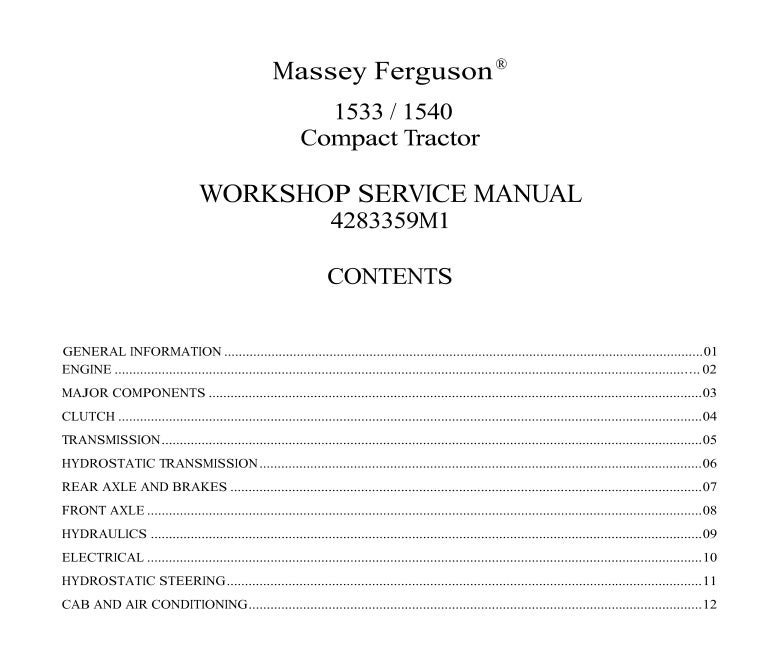 Mey Ferguson MF1533 Tractor Service Repair Manual on