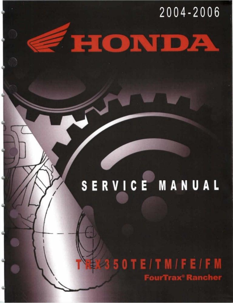 2005 Honda Trx350tm Fourtrax Rancher Service Repair Manual