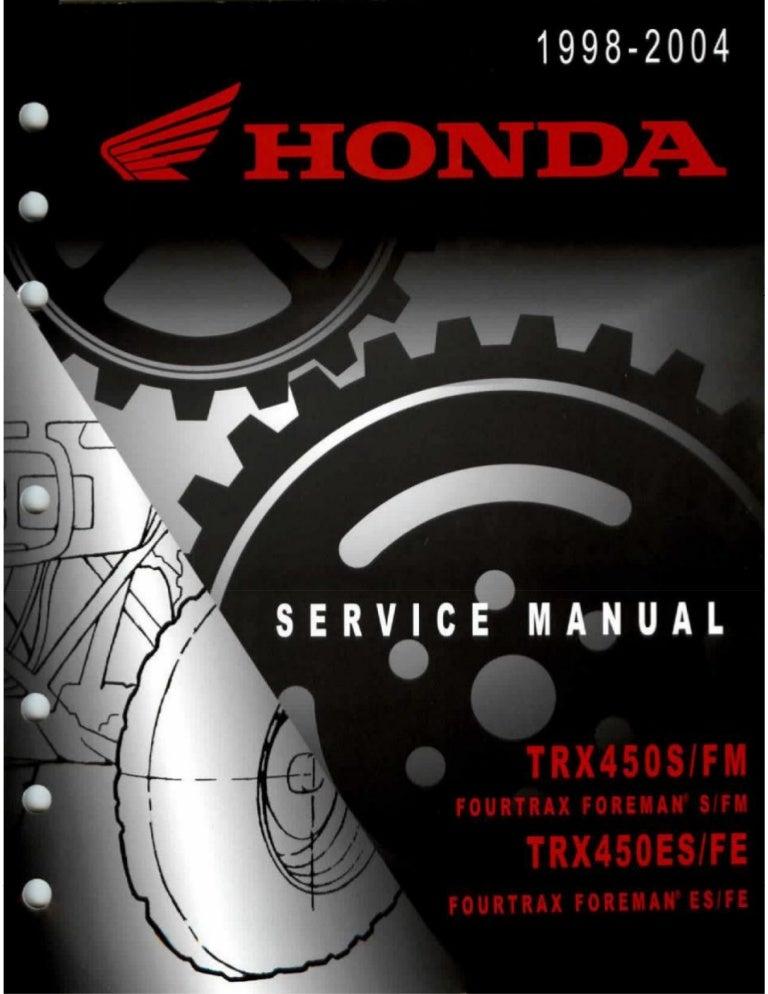 1999 Honda Trx450es Fourtrax Foreman Es Service Repair Manual