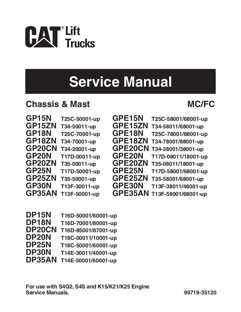 Caterpillar Cat DP35AN Forklift Lift Trucks Service Repair