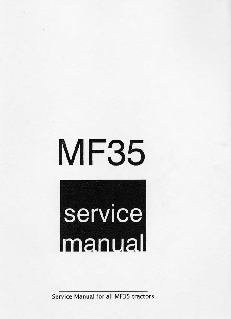 MASSEY FERGUSON MF35 TRACTOR Service Repair Manual