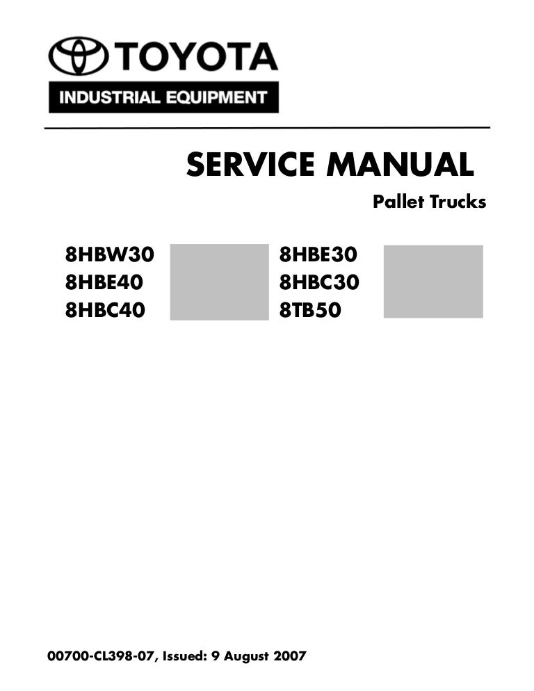 Toyota 8TB50 Pallet Truck Service Repair Manual