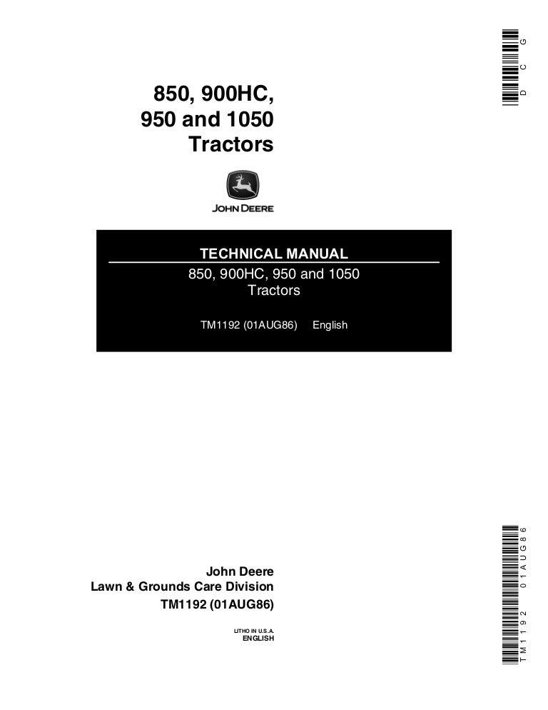 Service manual for john deere 850 950 1050 tractor repair.