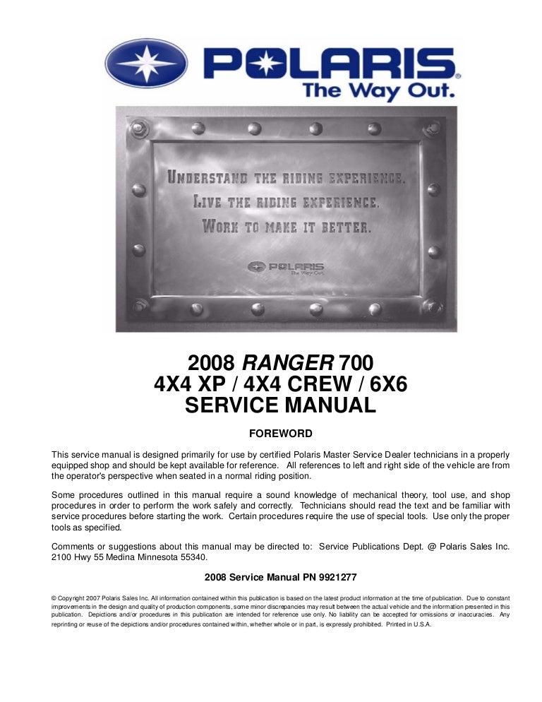 2010 polaris ranger 700 6x6 service repair manual.