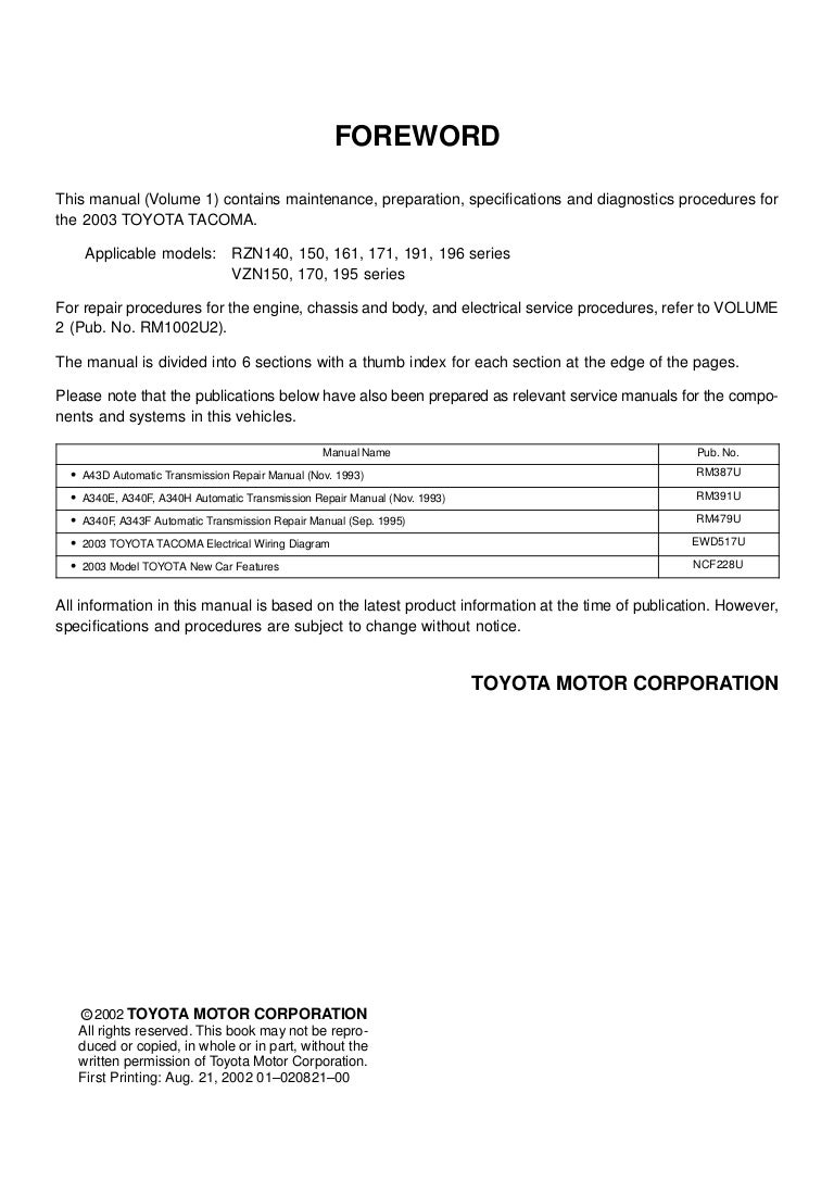 toyota tacoma ignition wiring diagram 2003 toyota tacoma service repair manual  2003 toyota tacoma service repair manual