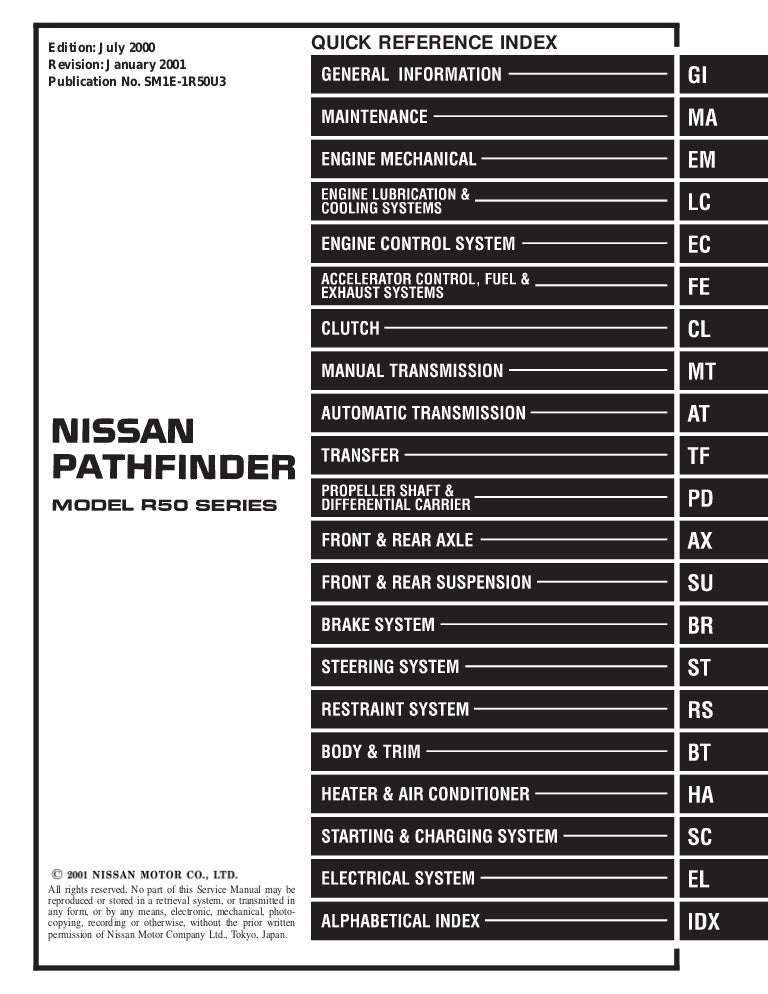 2001 nissan pathfinder service repair manual  slideshare