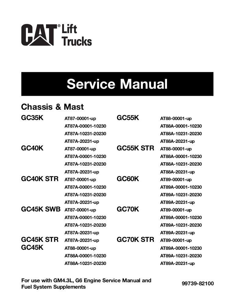 Caterpillar Cat GC55K Forklift Lift Trucks Service Repair