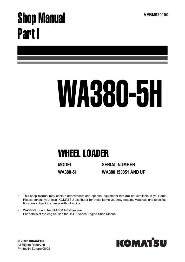 Komatsu Wa380 5h Wheel Loader Service Repair Manual Snwa380h50051 An Forklift Wiring Diagrams