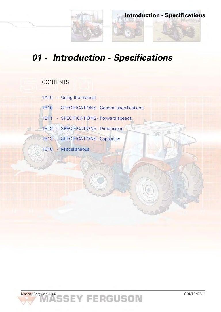 Massey Ferguson MF 5460 Tractor Service Repair Manual