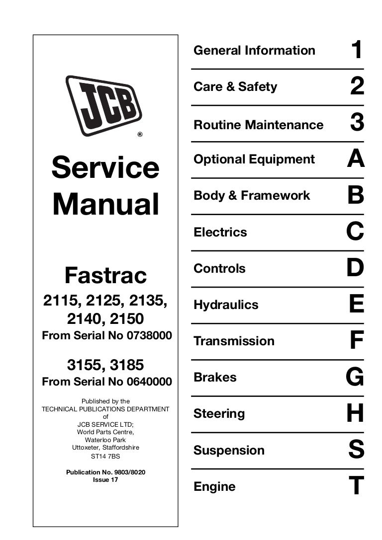 JCB 2140 FASTRAC Service Repair Manual SN:00741002-00741999