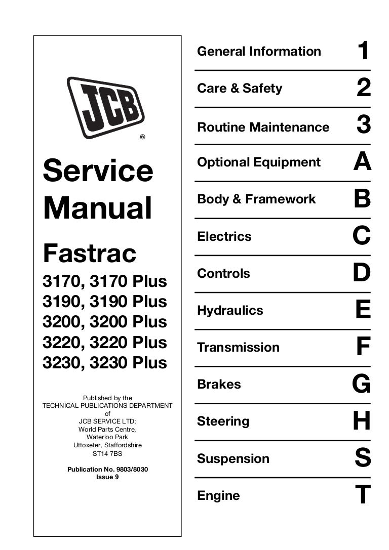 Jcb 3230 Plus Fastrac Service Repair Manual