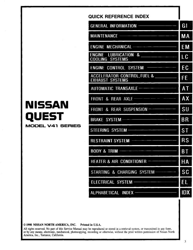 1999 NISSAN QUEST Service Repair Manual