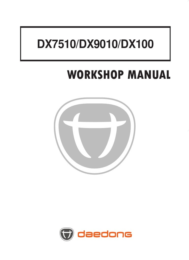 Kioti Daedong DX100 Tractor Service Repair Manual