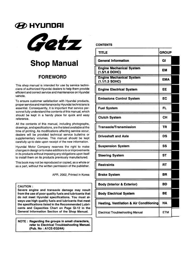 Bestseller: Hyundai Getz 11 Service Manual Pdf