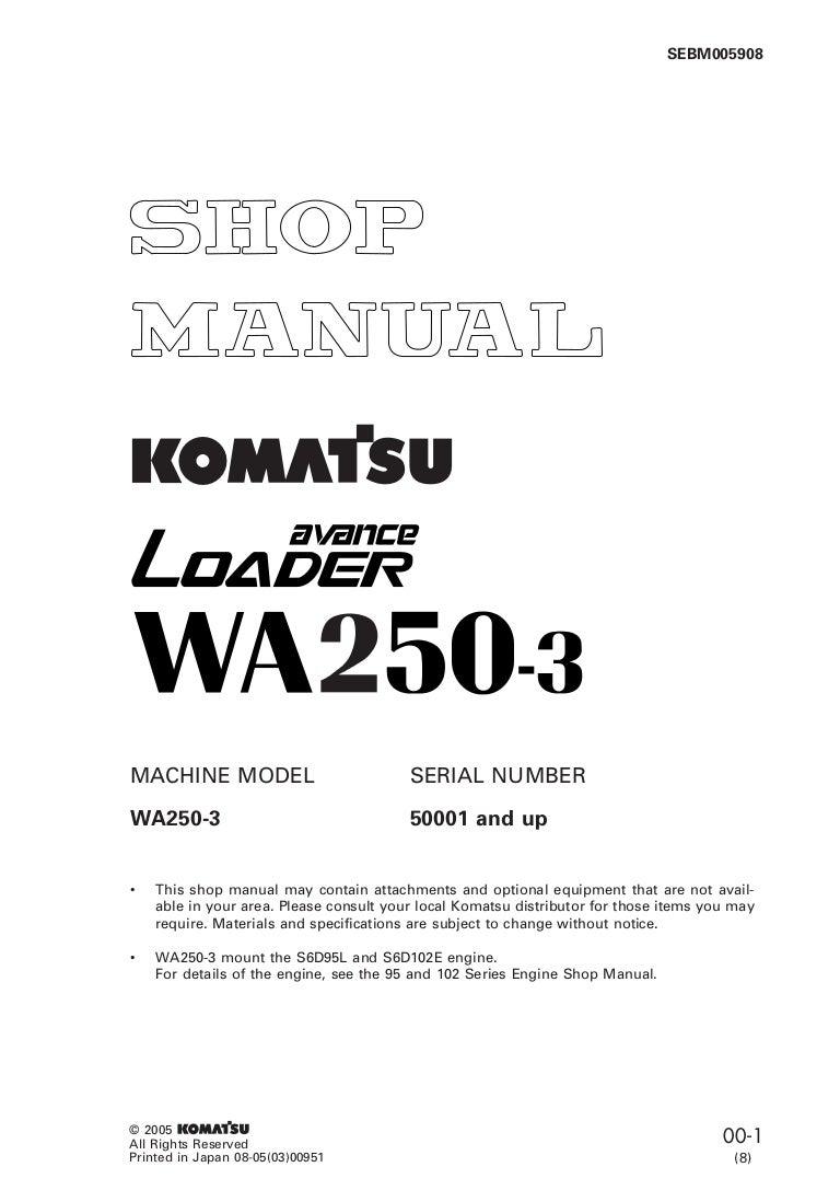Komatsu Wa250 3 Avance Wheel Loader Service Repair Manual Sn50001 An Wiring Schematics 6