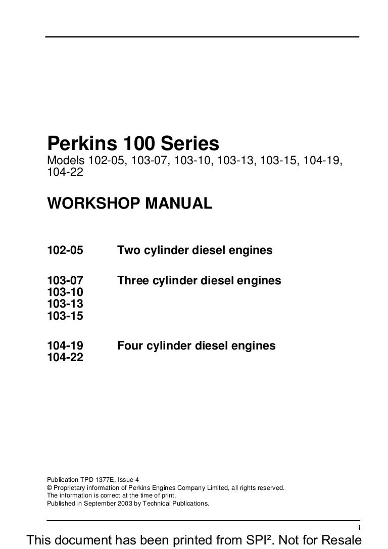 perkins 100 series 104 19 diesel engine service repair manual rh slideshare net Perkins Engine Starter Wiring Diagram Perkins Engine Wiring Diagram PDF