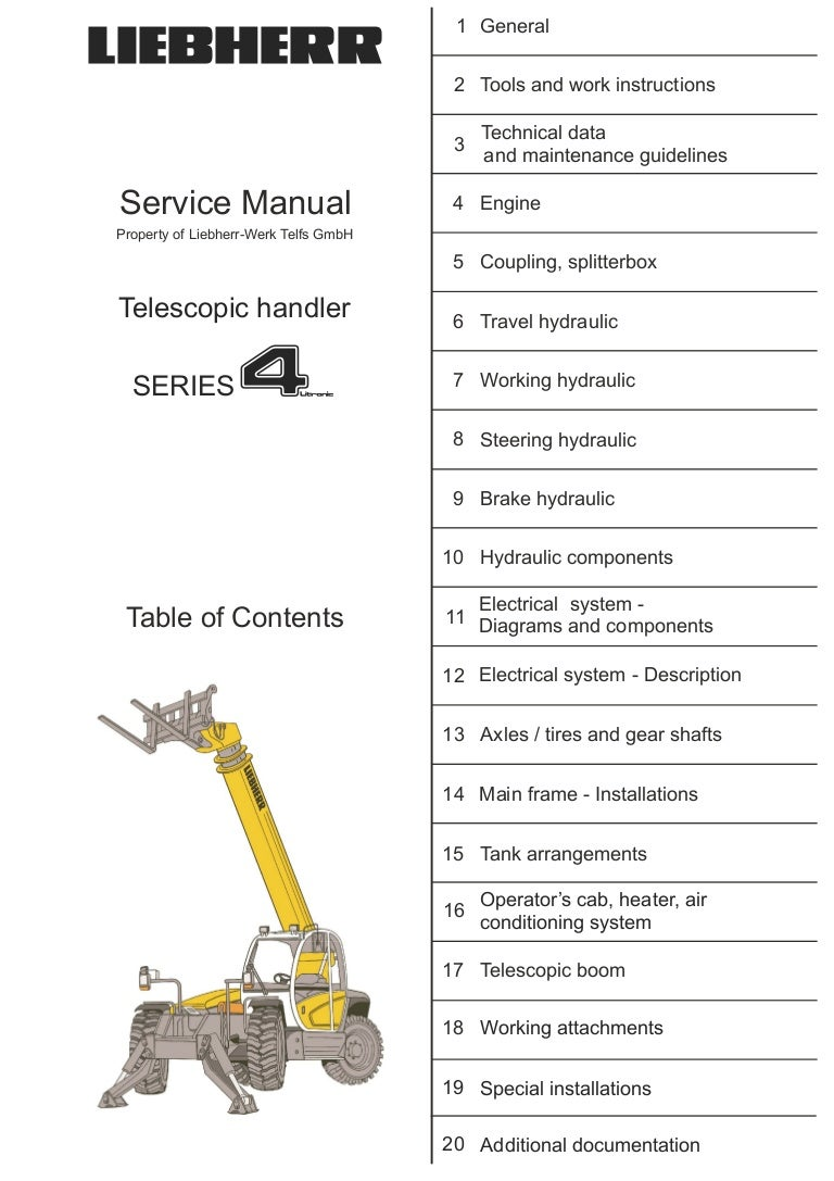 Liebherr Tl 435 10 Telescopic Handler Service Repair Manual John Deere 180 Wiring Diagram In Addition 445 Lawn Tractor